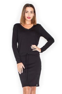 Katrus – Dámske čierne úpletové šaty K334 ddffc96515