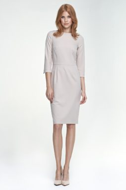d22bca26429d NIFE – Dámske elegantné béžové puzdrové šaty S80