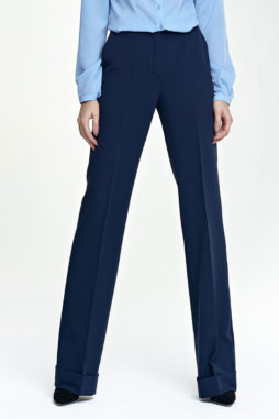 9c184ee901a2 Nife – Elegantné modré dámske nohavice s manžetami SD26