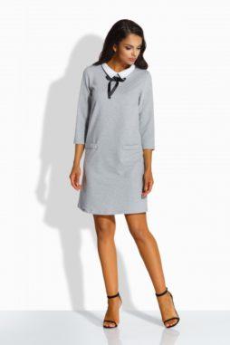 Lemoniade - Sivé klasické šaty s golierikom L222 (2)