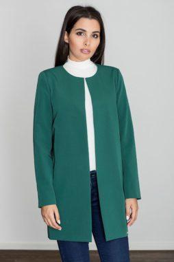 Figl - Dámsky moderný elegantný zelený kabát bez zapínania M551 (2)