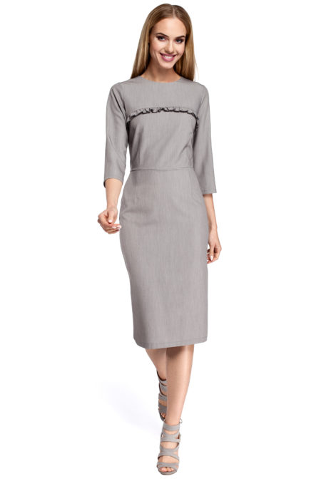 Moe - Dámske šedé elegantné šaty pod kolená MOE297 77edbbc33a1