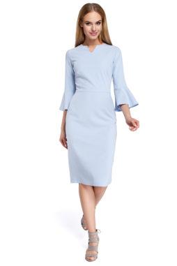 Moe - Dámske svetlo modré elegantné šaty MOE299 (2)