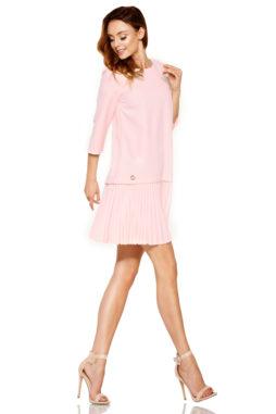 b0b315b363b5 Lemoniade – Púdrovo ružové jednoduché šaty s plisovanou sukňou L266